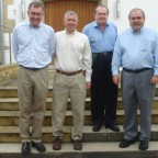 "James, Richard, William ""Bill"", William ""Bud"" Border in front of the church in Jettenburg"