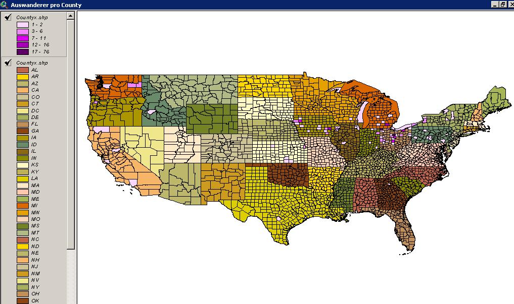 Settlements of emigrants - County distribution