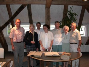 from left: Hans Kern, Rose Schmid, Mr. Breitmaier, Monica Schmid, Lawrence, Betty and Charles Walker