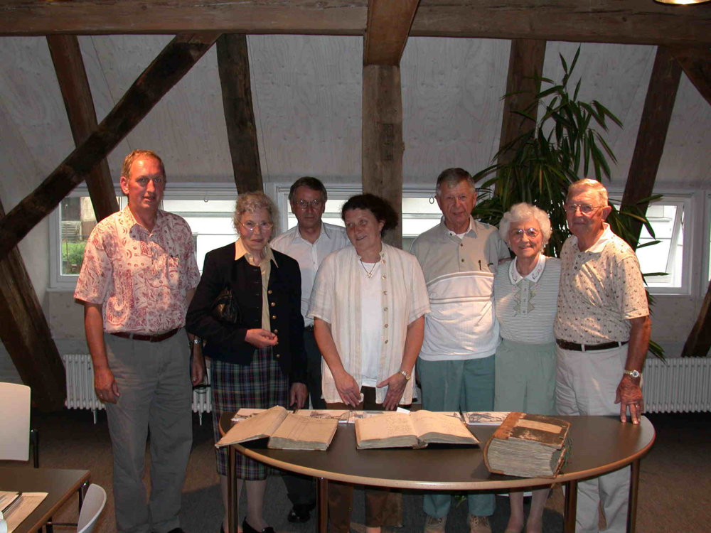 from left: Hans Kern, Rose Schmid, Mr. Breitmaier, Monica Schmid, Lawrence, Betty and Charles Walker