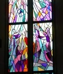 The glass windows of the church in Wankheim