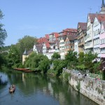 Scenic view on Tuebingen's lake side from the Neckar bridge.