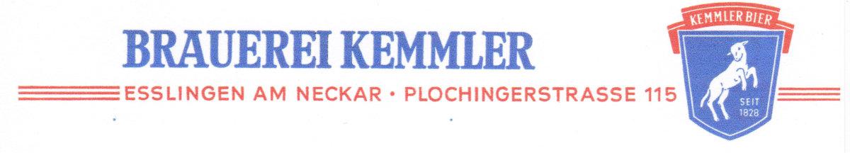 Briefkopf der Brauerei Kemmler 1960