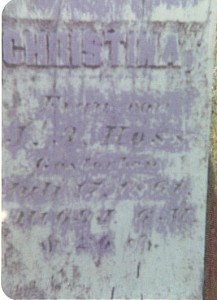Tombstone of Christina (Grauer) Hoss *Dec 22, 1791, +Jul 17, 1861