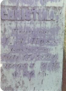 Grabstein von Christina (Grauer) Hoss *22.12.1791, +17.7.1861