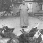 Elisasbeth Hiser Walker and her chickens, ca. 1915