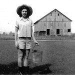 Mary Trant Helm with Trant Barn in background, 1951