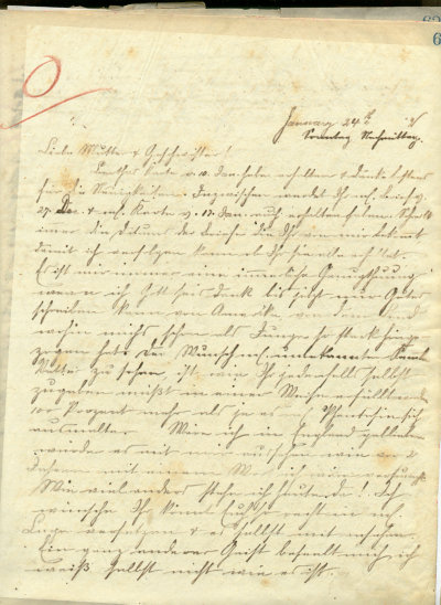 First page of the letter of Robert Eugen Kemmler to his mother dated January 24, 1892