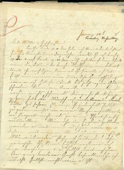 Erste Seite des Briefes von Robert Eugen Kemmler vom 24.1.1892 an seine Mutter