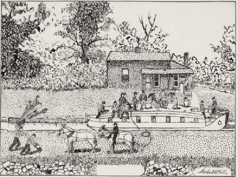 Historical drawing of a canal boat