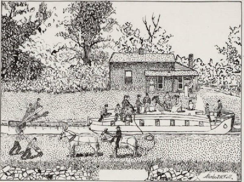 Historische Zeichnung eines Kanalboots