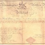Daniel Grauer's discharge of the Royal Wuerttemberg Artillerie Regiment