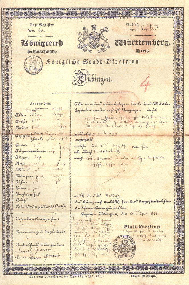 Passport of Daniel Grauer from Maehringen
